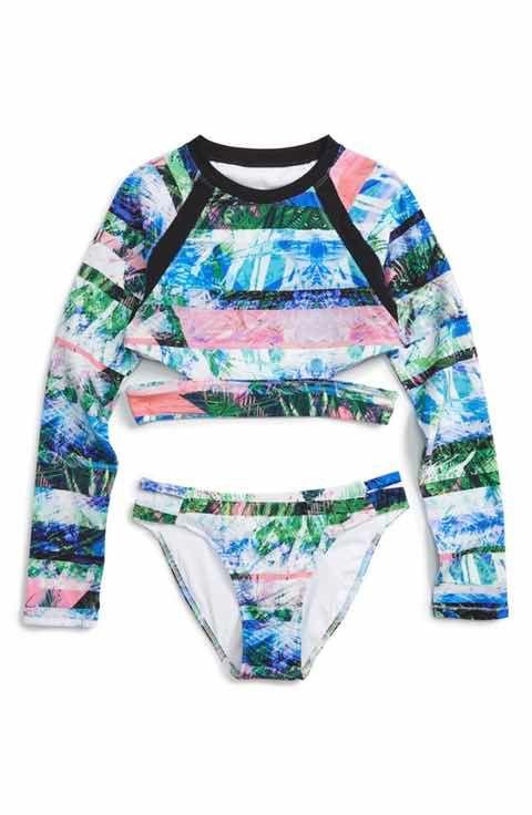20b625be7b523 Zella Girl Two-Piece Rashguard Swimsuit (Big Girls)   swimsuits in ...