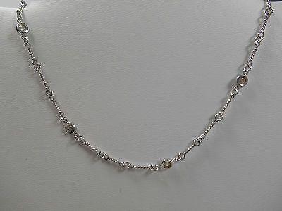 01e33ba6e78 Authentic Roberto Coin Dog-Bone 7 Diamond Station 18K WG Necklace 16