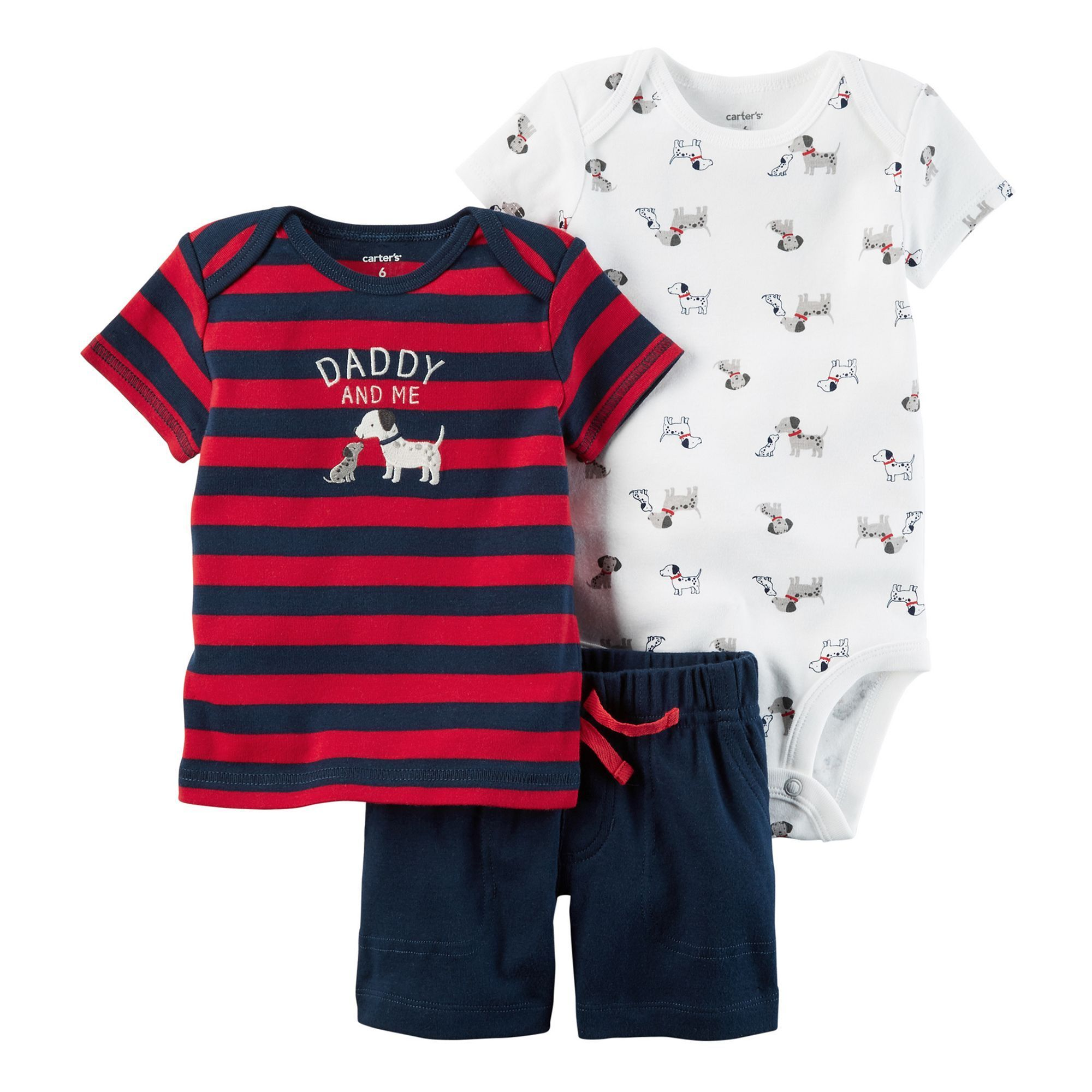 """Baby Boy Carter s Dog Bodysuit Striped """"Daddy and Me"""" Tee & Shorts"""