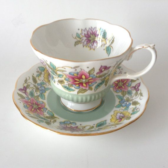 Royal Albert  Tea Cup and Saucer Jacobean Green by dishinit, $30.00