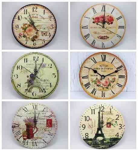Relojes de pared deco vintage en madera decoraciones pinterest reloj madera y relojes de Relojes de decoracion
