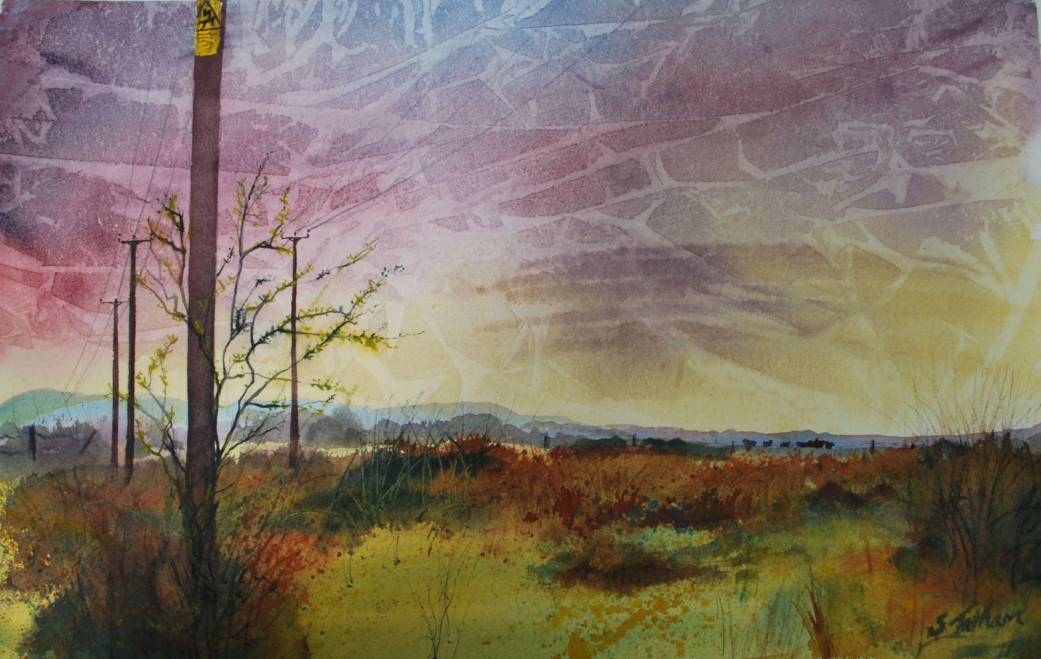 Pevensey Levels Pylons Watercolour by Sonya Tatham