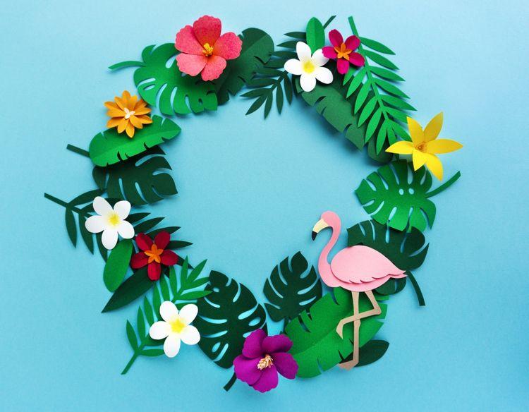 4 Servietten ~ Tropischer Garten mit Flamingo Urwald exotische Blumen Blüten