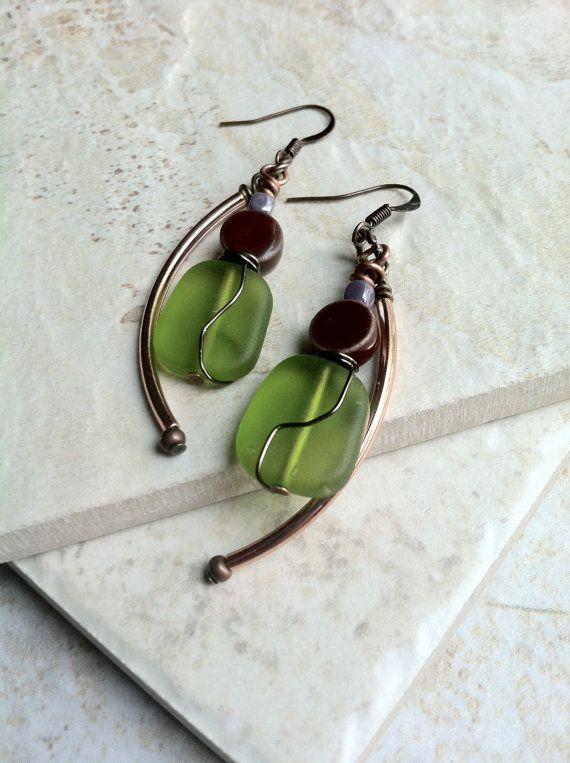 Green Earrings.  Glass Bead Earrings.  Sea by aonJewelryDesigns, $19.00