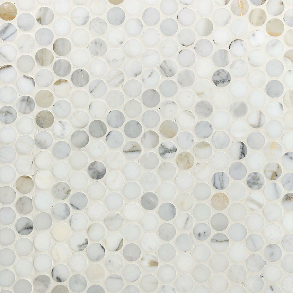 Calacatta Penny Rounds Polished Marble Tile