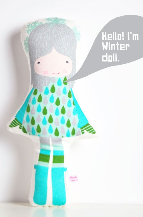 #Winter #doll -  a fun little girl that loves the cold snowy days of winter time, the rainy days when she stays home eating pancakes with her family – oh and she also loves to play with her friend the polar bear, white and #blue are her favourite colors. She will be a great friend for any playfull little girl!  by PinkNounou