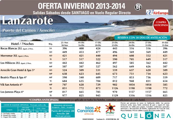 Oferta Ace 7 noches Nov-Ene zona Pto Carmen y Arrecife desde 396€ Tax incl.Salidas desde Scq. - http://zocotours.com/oferta-ace-7-noches-nov-ene-zona-pto-carmen-y-arrecife-desde-396e-tax-incl-salidas-desde-scq/