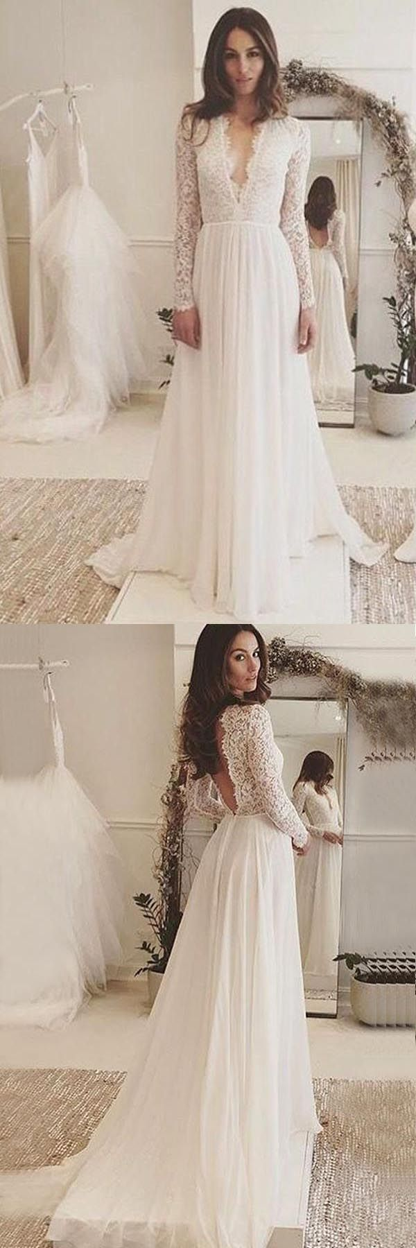 Vneck long sleeves backless ivory chiffon wedding dress with lace