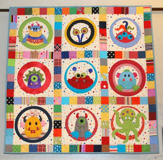 M Is For Monster Quilt Paper Pattern Will Be Mailed Baby Sewing