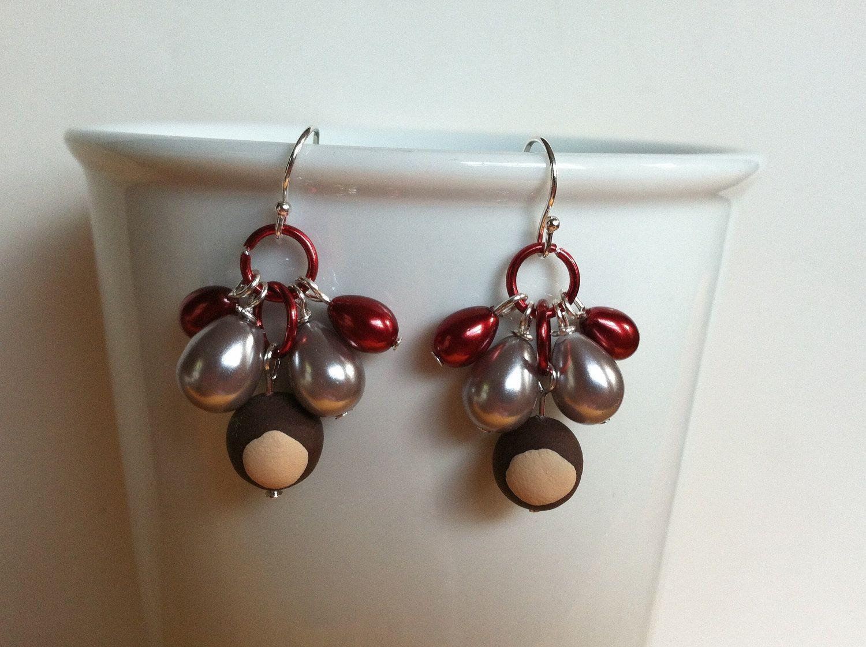 Ohio State Buckeye Pearl Drop Sterling Silver Earrings