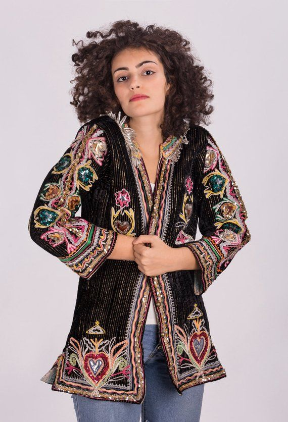64e84b78a1 Vintage Hippie Velvet Jacket with Colorful Embellishment