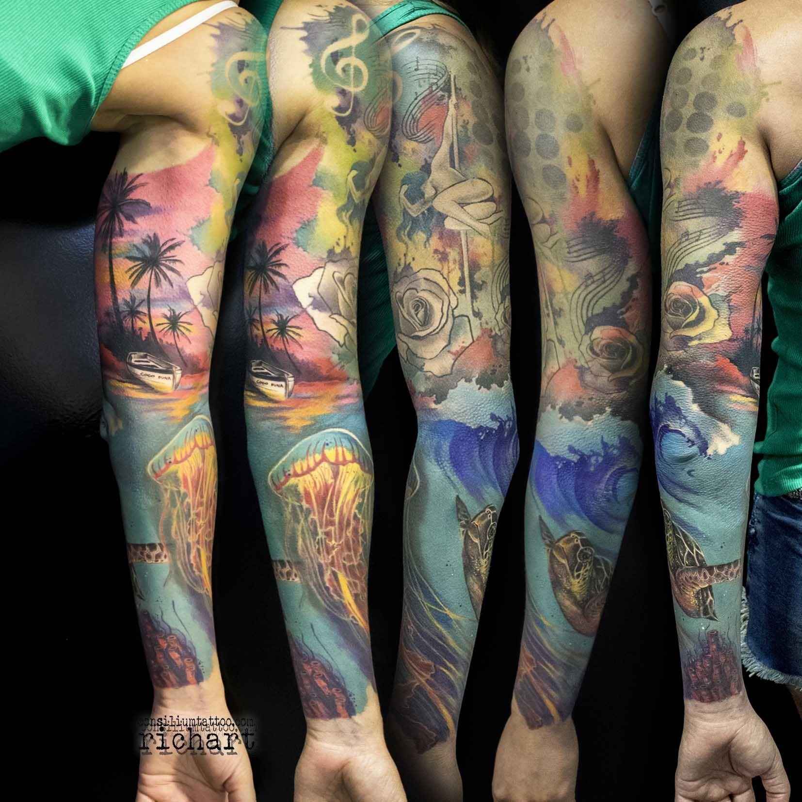 Tatuaje tattoo manga a color en consilium tattoo vilaseca - Mangas de tattoo ...