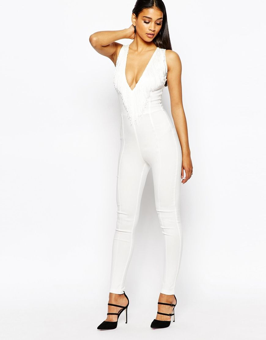 White Fitted Jumpsuit | Fashion Ql