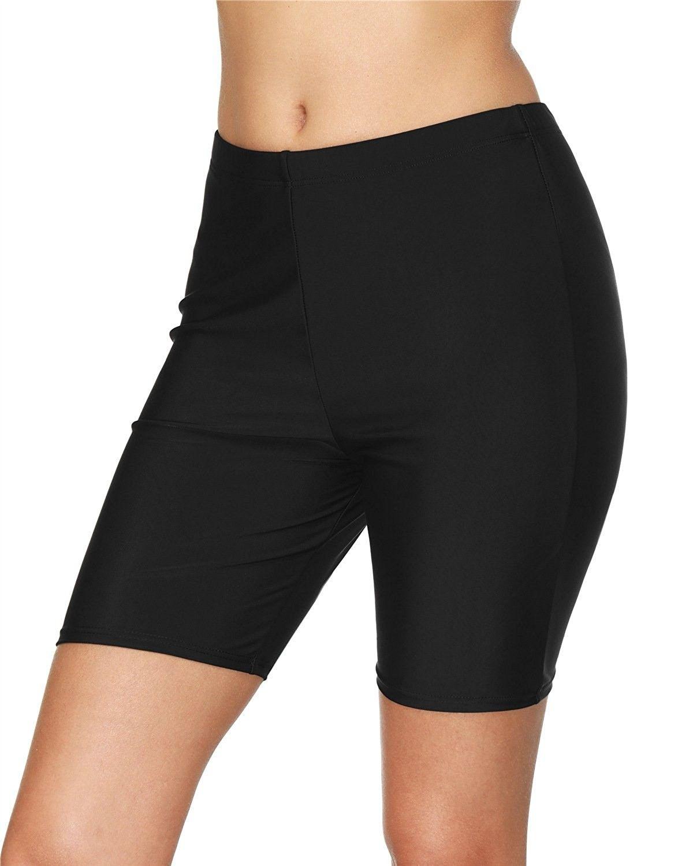 Womens Black Long Board Shorts High Waist Swim Shorts Swimsuit Bottom Black Ca180m73x09 Swim Shorts Women Swim Suit Bottoms High Waisted Swim [ 1500 x 1200 Pixel ]