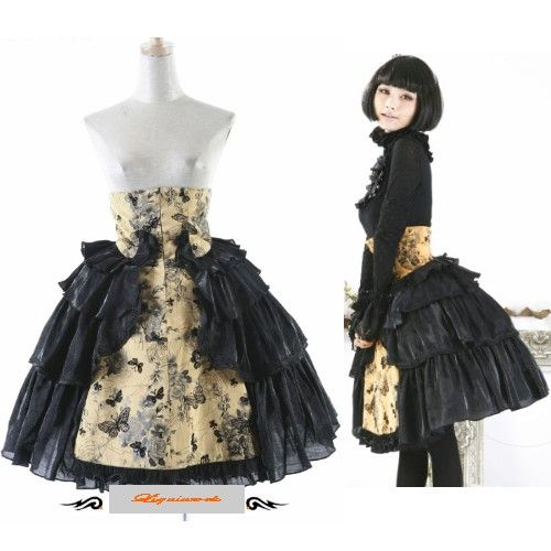 Beautiful Black Yellow Floral High Waisted Corset Gothic Lolita Long Skirts SKU 11406180