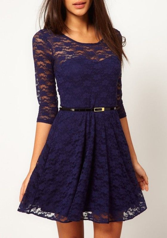 Dark Blue Belt Collarless Seven's Sleeve Lace Dress | Sleeve, Navy ...