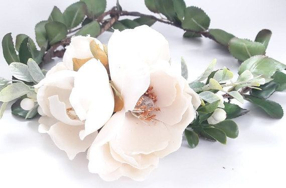 The Magnolia Flower Crown Natural Flower Crown By Bluelilybridal Flower Crown Rustic Wedding Flowers Boho Flower Crown
