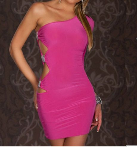 One Shoulder Cutout & Diamond Design Pink Polyester Mini Dress