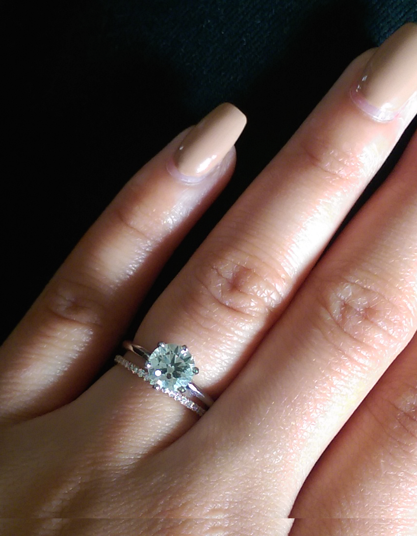Thin Engagement Ring With Thin Wedding Band!