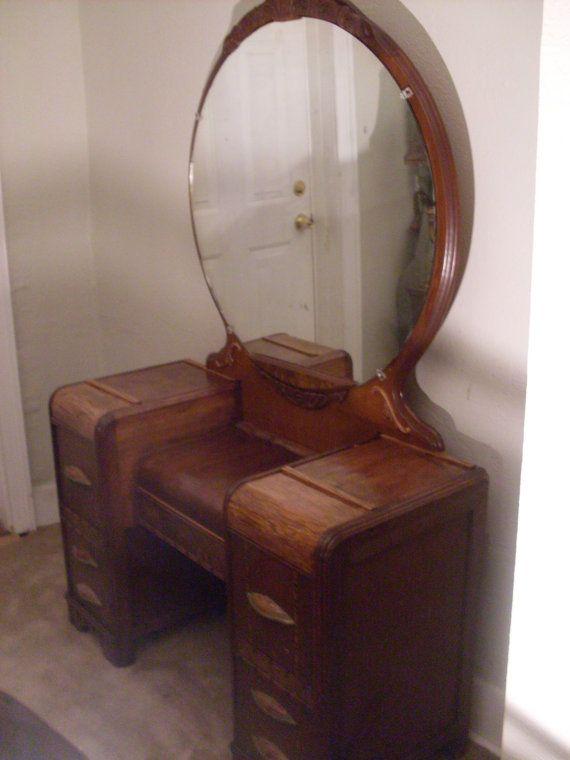 Art Deco Waterfall Vanity Dresser w/ Bakelite by RustyRomance - Art Deco Waterfall Vanity Dresser W/ Bakelite By RustyRomance Home