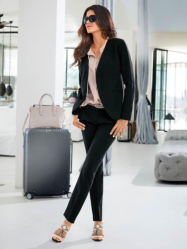 c654b910cf Tenue: Veste blazer ajouré femme, style classique et élégant, Pantalon slim  style leggings fin noir pour femme, Ballerines à petits talons, laçage  cordon