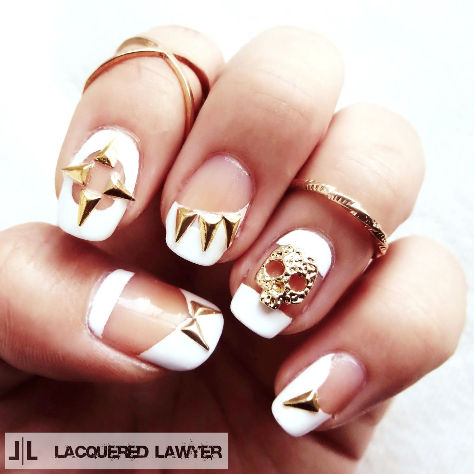 Lacquered Lawyer Nail Art Blog Very Cool Skulls And Spikes With Negative E Design X