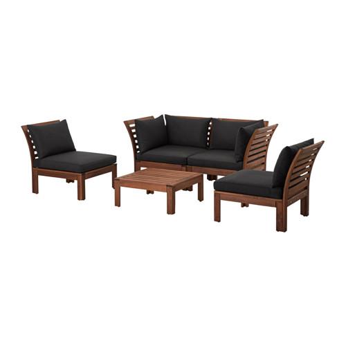 ÄPPLARÖ 4-seat conversation set, outdoor, brown stained, Hållö black ...