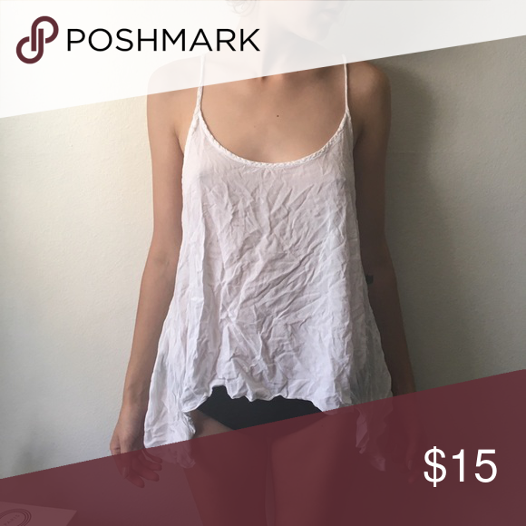 Summer flowy top Handkerchief flowy light thin strappy white tank. Wrinkled but otherwise like new Brandy Melville Tops Tank Tops