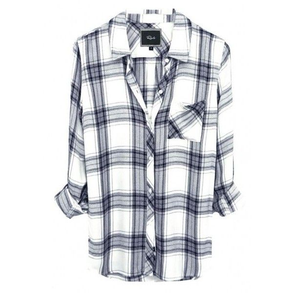 Rails (€125) ❤ liked on Polyvore featuring tops, shirts, leather shirt, long plaid shirt, america shirts, ivory crop top and long button up shirt