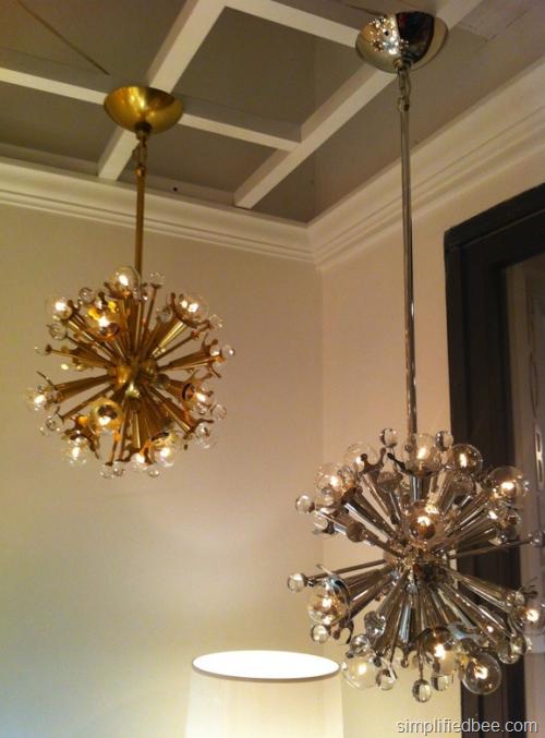 mini sputnik chandelier in nickel and brass by Jonathan Adler for Robert Abbey}