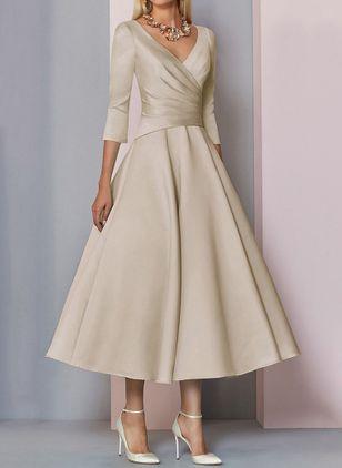 Elegant 3/4 Ärmel Uni Midi Kleider (1955418675)