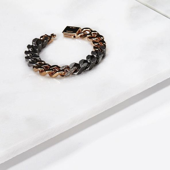 Our Franco Bracelet in mixed metals, hand carved texture on the chain, and a touch of crystal!
