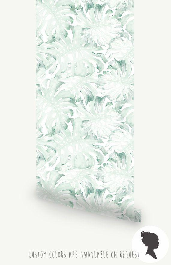 feuilles de palmier aquarelle mur papier peint mural par livettes home wc parement mural. Black Bedroom Furniture Sets. Home Design Ideas
