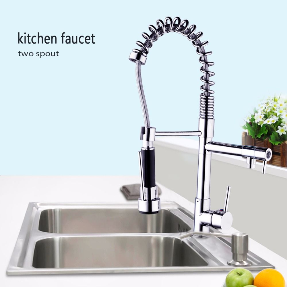 Chrome Finished Single Handle Double Spout Kitchen Faucet