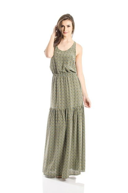 Vestido Ateen Longo Seda Verde - Marca ATEEN 7825bfa7d62ce