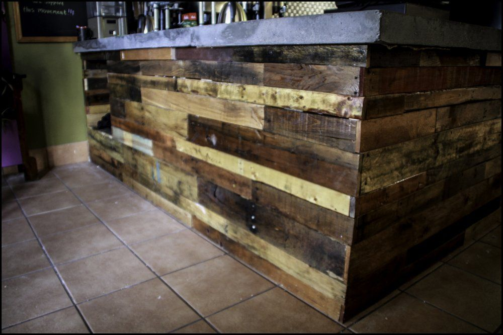 Distressed Wood Upcycling Carpentry Wood Working Pallet Wood Custom Wood Working Concrete Countertop By Fla Custom Wood Wood Pallets Concrete Countertops