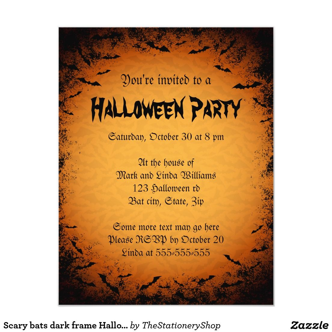 Scary bats dark frame Halloween party invitation | Trick or Treat ...