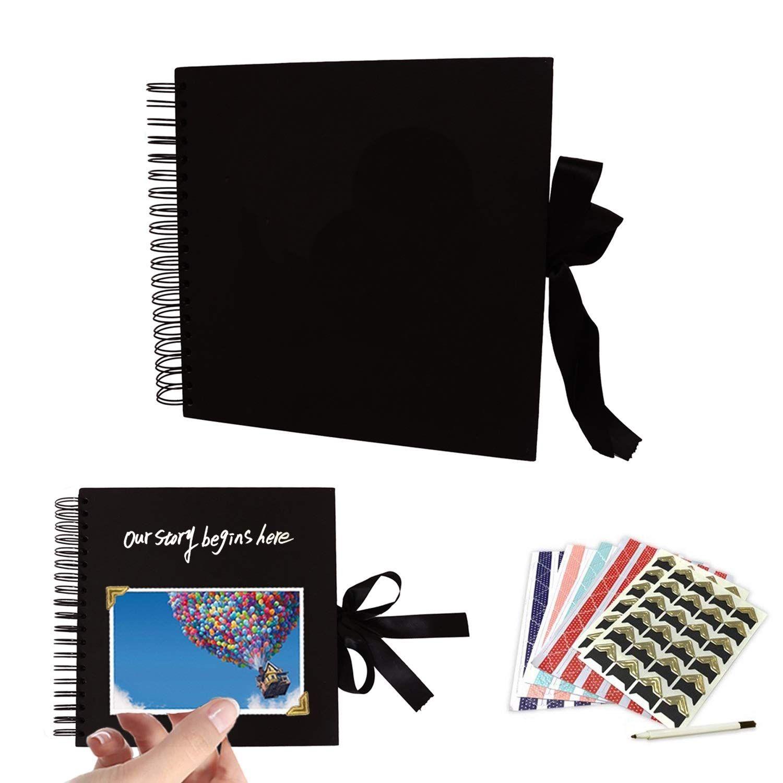 Photo Scrapbook HUSTON LOWELL Scrapbook Photo Album Beige Family Scrapbook DIY Scrapbooking Kit Wedding Guest Book,Album with 80 Black Pages,Great for Anniversary
