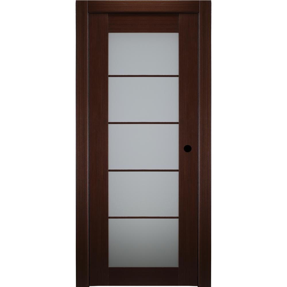 Belldinni 36 In X 80 In Mia Wenge Finished Left Hand Solid Core Wood 5 Lite Frosted Glass Single Prehung Interior Door Prehung Interior Doors Frosted Glass Wood Glass