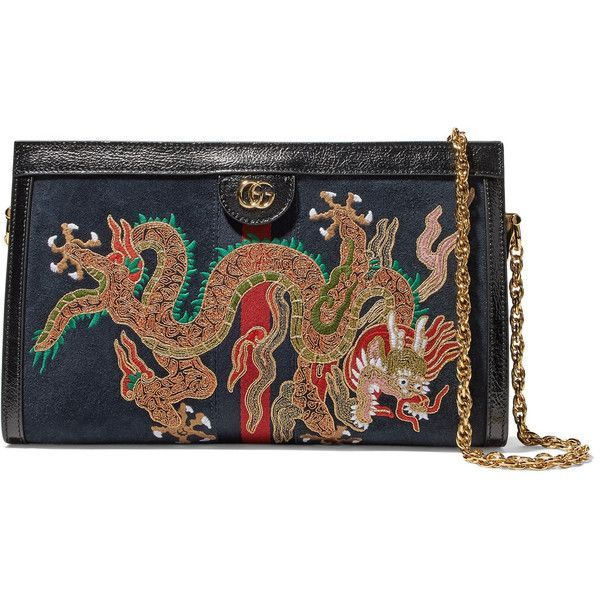 82d2c7a3d GucciOphidia Embroidered Suede Shoulder Bag (€2.200) ❤ liked on Polyvore  featuring bags,