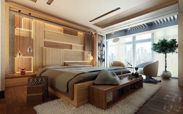panneau décoratif mural en bois rétroéclairé en tant que déco murale naturelle et élégante dans la chambre