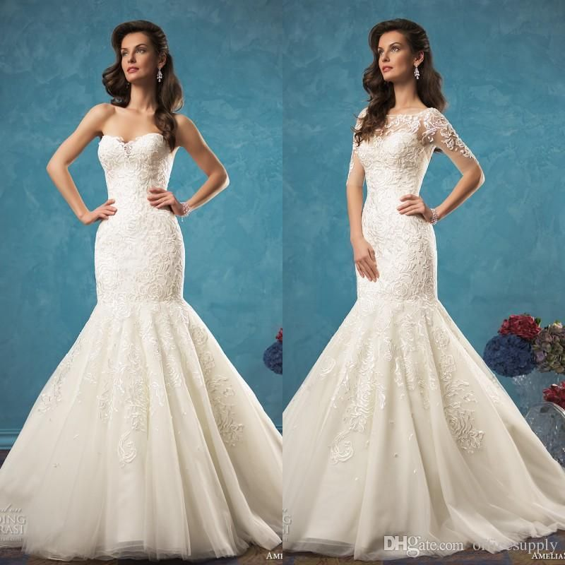 2017 Two Pieces 2 in 1 Style Mermaid Wedding Dresses Vestido with ...