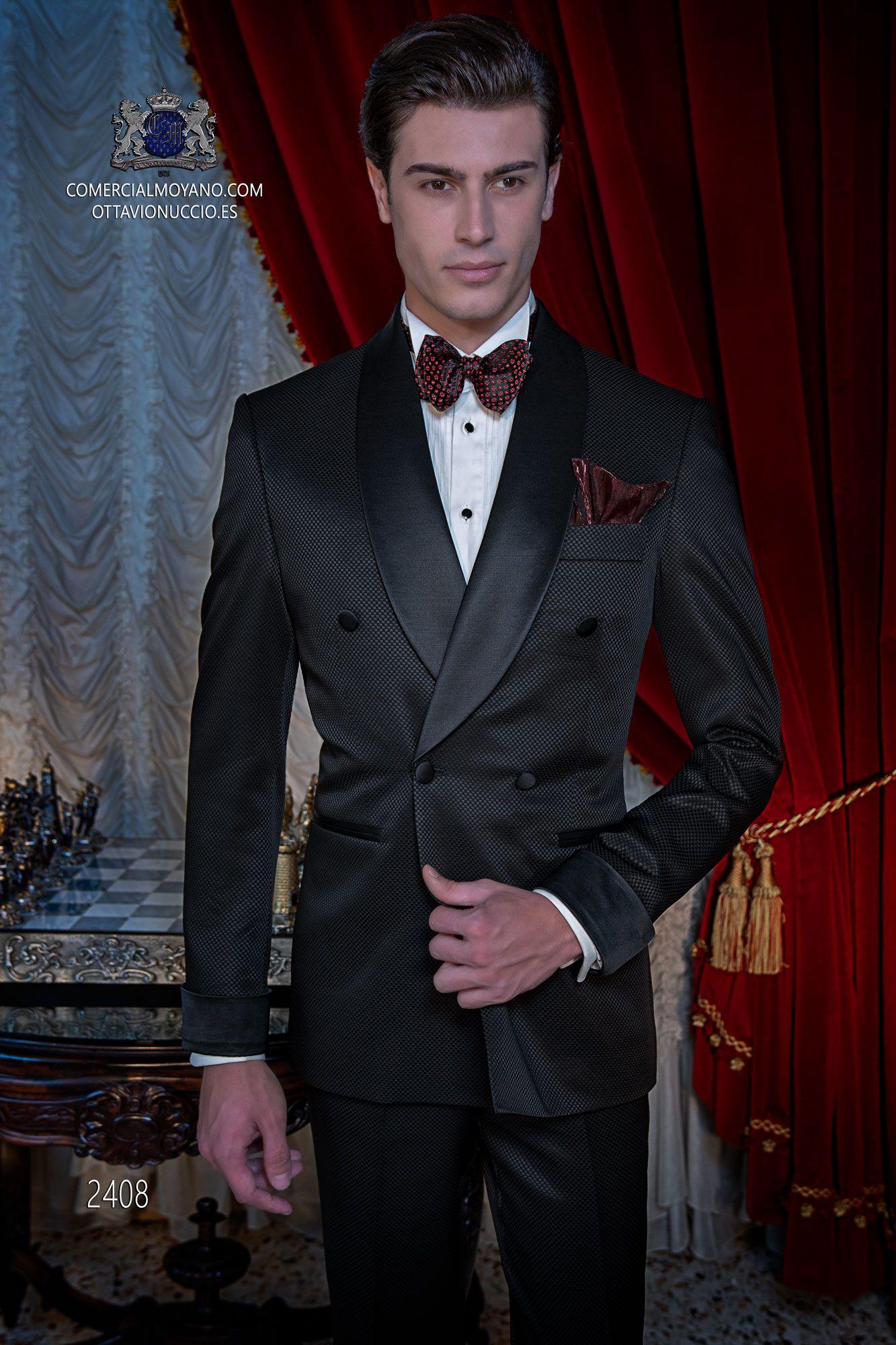 Italian double breasted black tuxedo with satin lapels ...
