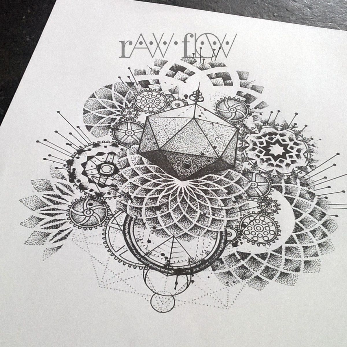 35 Spiritual Mandala Tattoo Designs: Abstract Dotwork Mandala Tattoo Gears And Cogs Geometry
