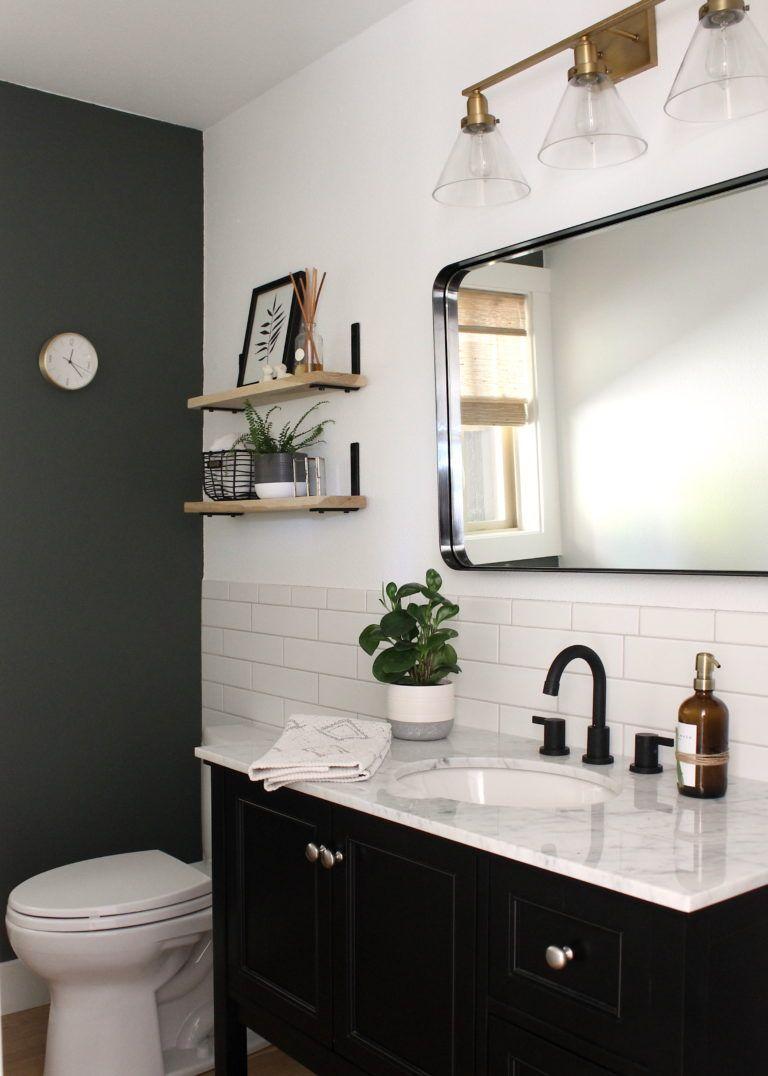 Powder Bathroom Remodel Reveal Finally Allisa Jacobs Bathroom Color Schemes Bathrooms Remodel Green Bathroom