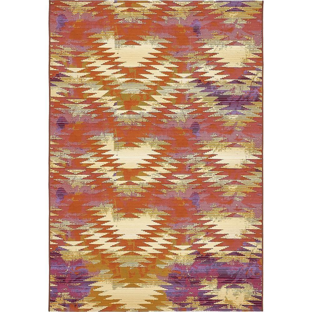 Unique Loom Outdoor Aztec Red 5 3 X 8 0 Area Rug 3138423 Southwestern Area Rugs Area Rugs Outdoor Carpet