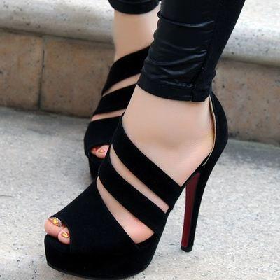 New Stylish Handmade Black Straps High Heel Sandals from Eoooh❣❣