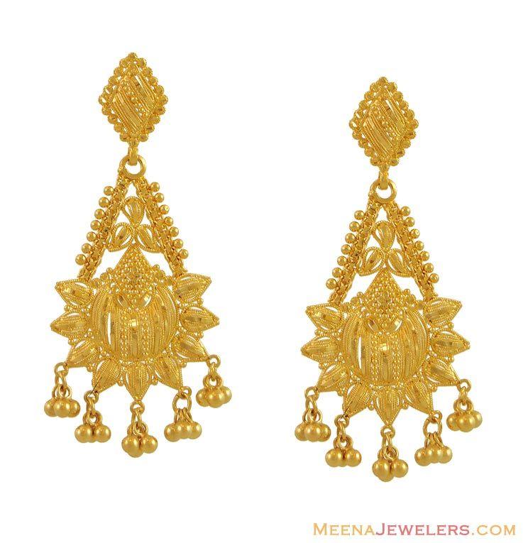 EARRINGS FROM INDIA | Indian Filigree Earrings (22K Gold) ( Long ...