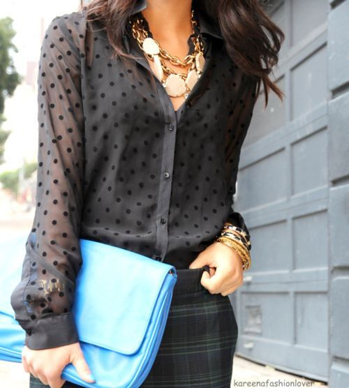 sheer blouse w/ statement necklace & the color of the clutch