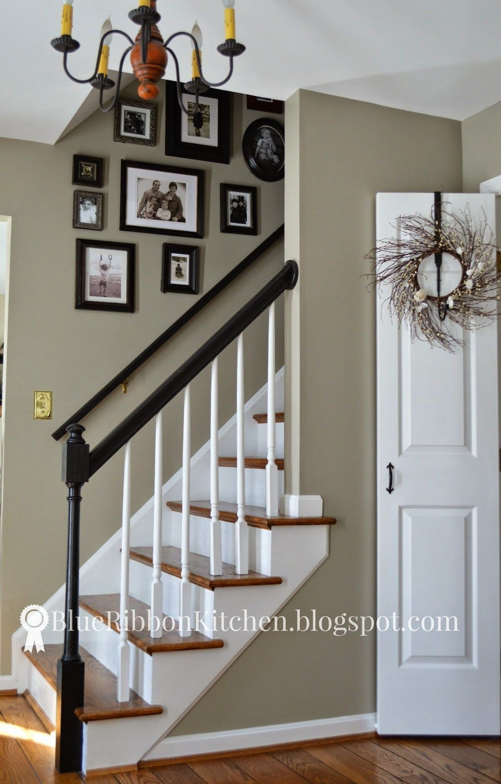 Benjamin Moore Sandy Hook Gray Is One Of The Best Green Greige Beige Paint Colours Shown In Entryway With Stairs And Wood Flooring By Blue Ribbon